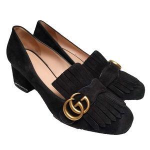 Gucci Marmont Kiltie Black Suede Block Heels